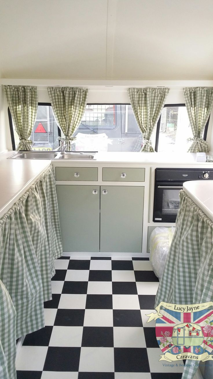 Vintage Caravan Bespoke built soft catering interior................. Like floor and window curtains