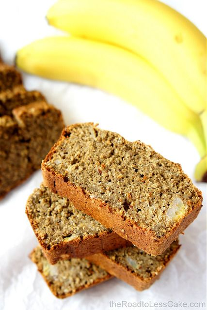 A twist on the classic banana bread with a soft inside, crumbly crumb and a subtle nutty flavour, as well as a protein kick from some hemp protein powder | from The Road to Less Cake | #banana #superfood #protein #bread