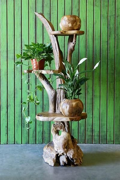Hand made from driftwood with 3 solid teak shelves.Size : 3 Tiers : Approx. 6' H