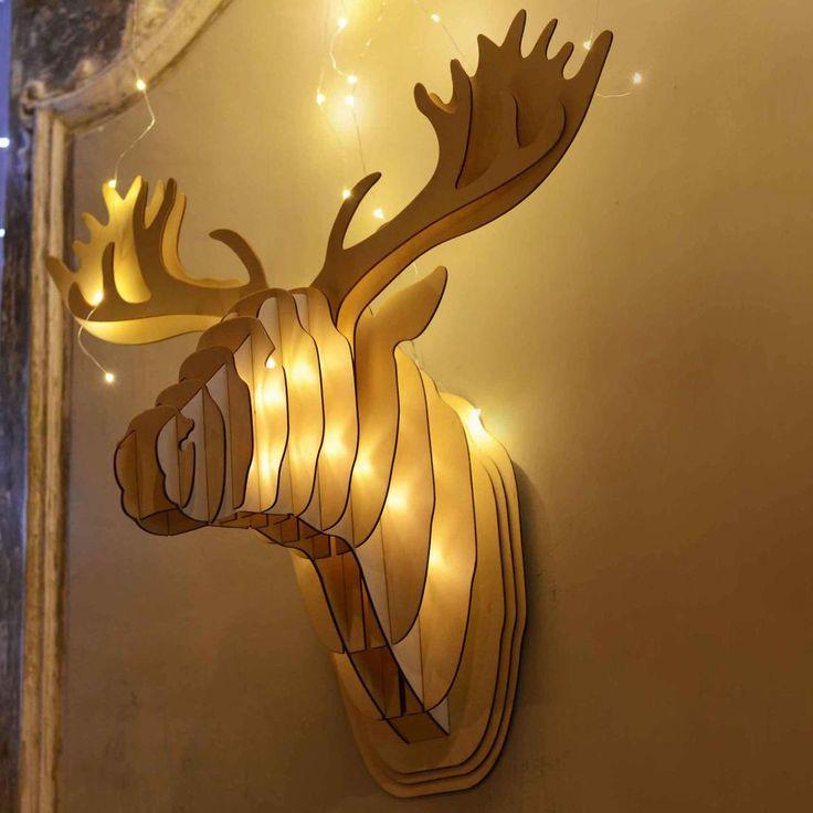 CERF - Głowa Jelenia świecąca LED Drewno Wys.56cm Blachere Illumination