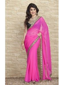 Buy Marvellous Pink Georgette Designer Saree Online at High5Store.