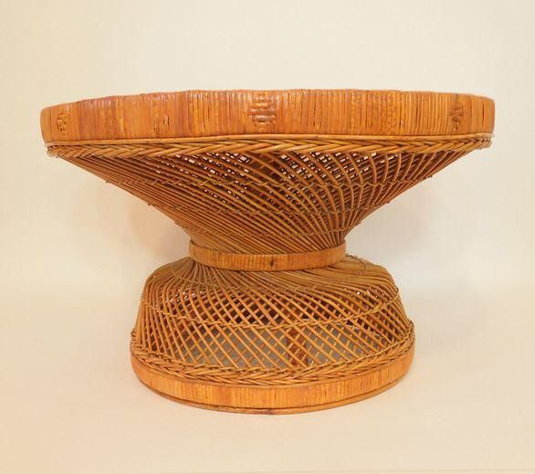 1970s french woven reed rattan coffee table - Rattan Coffee Table