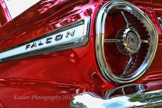 Classic Ford Falcon red rear tailight and emblem vintage American auto an 8 x12 print