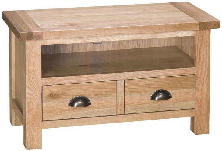 Simple Oak TV Unit with Drawers   Buy Vancouver Select Oak TV Unit - 2 Drawer Online - CFS UK