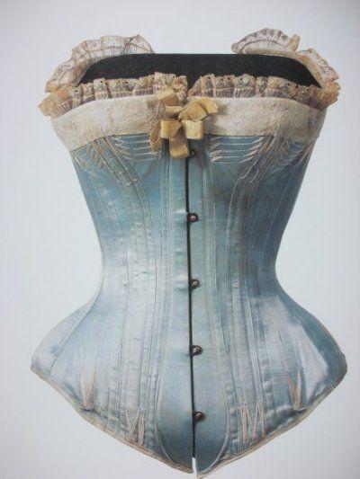 Blue silk satin corset, 1880s.    Waist: 49 cm, 19.3 inches.    Kyoto Costume Institute