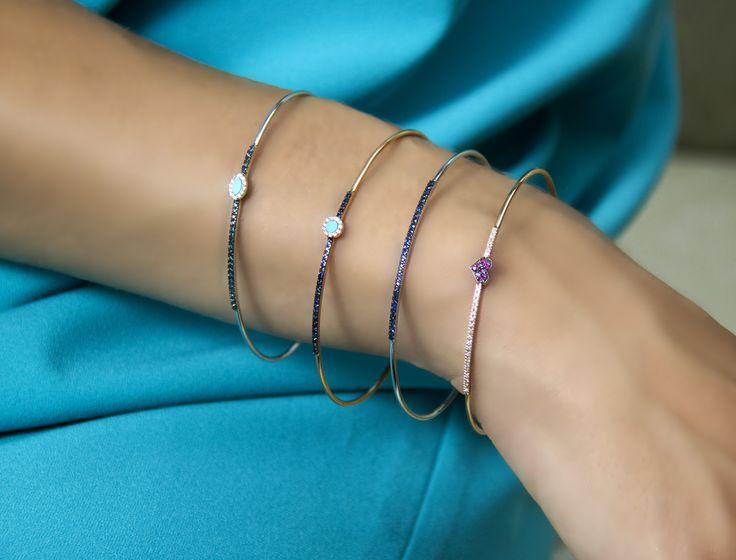 Gold Bracelets. Diamonds, Sapphires, Rubies, Turquoise