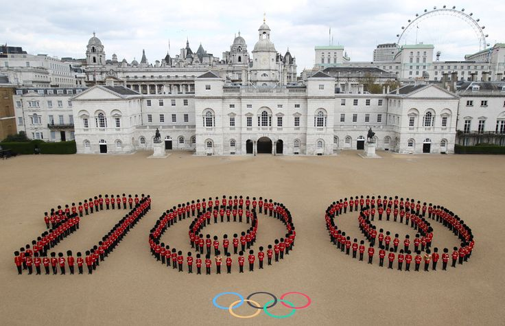 An aerial view of the Horse Guards Parade in central London where the Olympic beach volleyball will be held