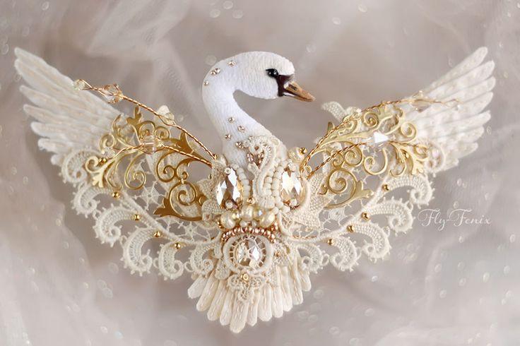 """Купить Брошь """"Золотой Лебедь"""". Свадебная коллекция. - золотой, лебедь, лебеди, Лебединое озеро"""