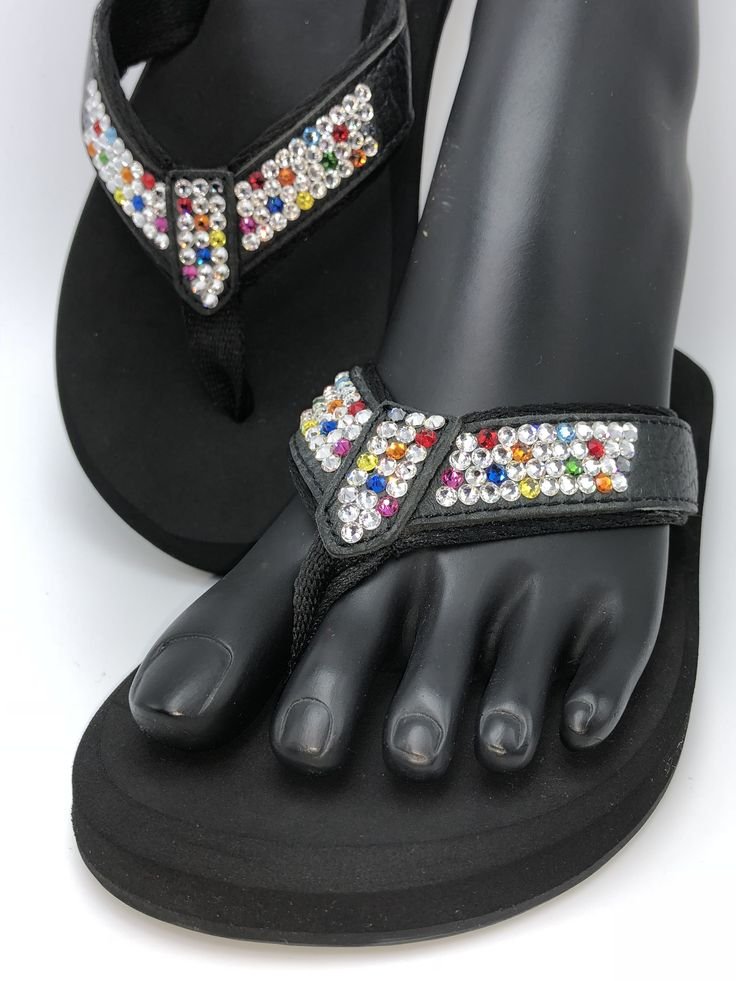 "Confetti - Orthopedic flip flop from our Duchess collection. Shoe consists of a molded sole bottom with built in arch support, 1/2"" high density EVA memory foam rubber, leather straps with a rolled nylon lining, and are embellished by hand with genuine Swarovski® crystals.  (Sizes 5 - 11 / no half sizes)  Embellished in Fort Worth, TX.  (www.SouthernGlassSlipper.com)"