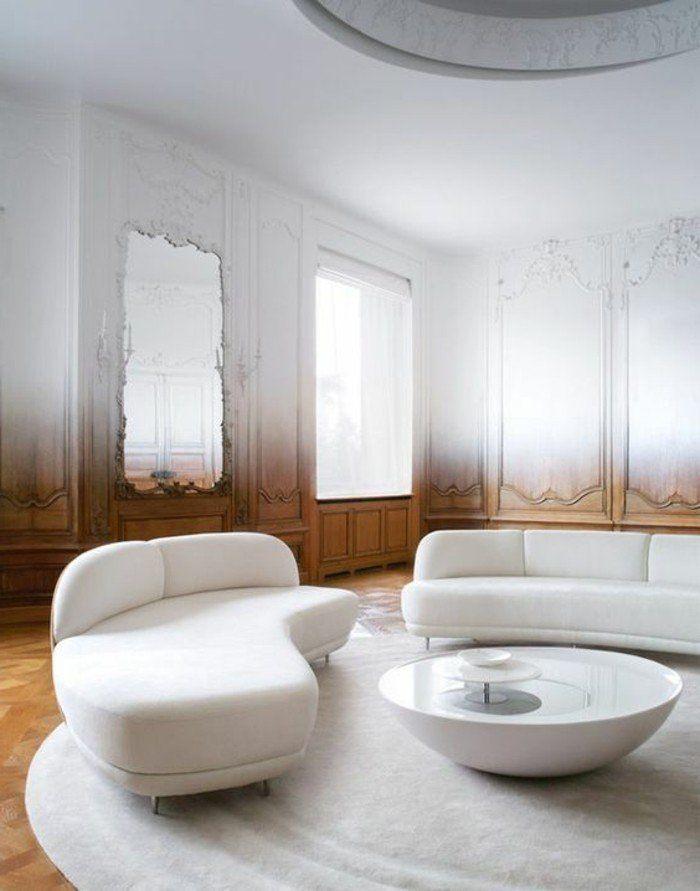 meubles de salon blancs, canapé d'angle arrondi blanc en cuir, tapis rond blanc