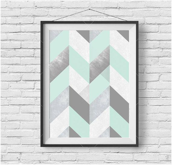Mint Print Mint Poster Mint Wall Art Chevron Print by PrintAvenue