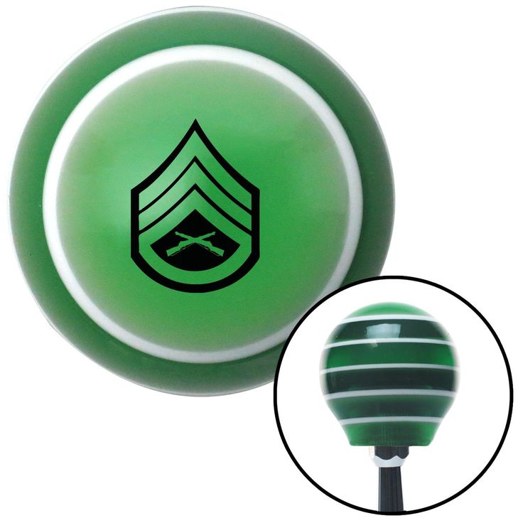 Black 05 Staff Sergeant Green Stripe Shift Knob with M16 x 15 Insert - Give your interior the ultimate look. American Shifter's Elite(TM) series shift knobs are made from the highest quality components resulting in a superior feel on every shift. Each shift knob is designed and customized in the USA by skilled shift knob artisans who have a trained eye on every detail. American Shifters shift knobs offers an exclusive aluminum threaded insert designed to be screwed onto your shift arm. You…
