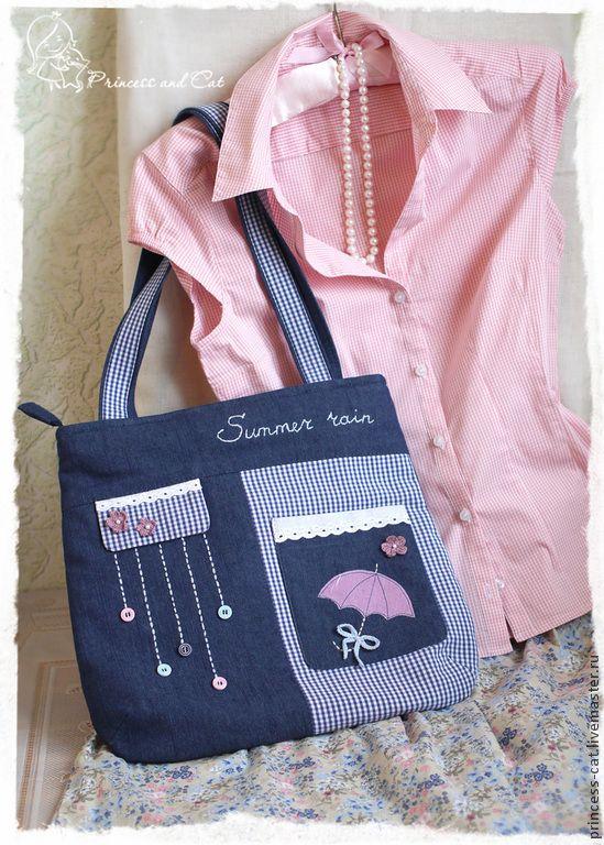 """Купить Джинсовая сумка """"Летний дождь"""" - сумка джинсовая, сумка с аппликацией, сумка женская"""