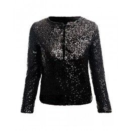 Shining Black Sequin Round Neck Crop Blazer JA0150022-3