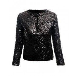Shining Black Sequin Round Neck Crop Blazer JA0150022-3