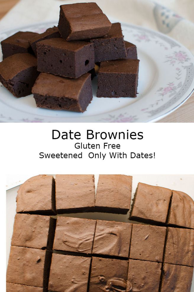 Date Brownies - gluten free, sweetened only with dates!