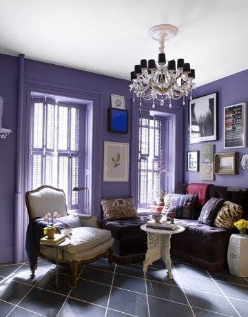 House Beautiful.A Beautiful Banquette  To open up floor space in his living room, designer David Kaihoi built a corner banquette, with hidden storage beneath the seats. Everything has to have more than one purpose, he says. Walls are Purple Haze by Benjamin Moore. - LOVE this room and this paint color! I am totally going for this for the guest bedroom in our Florida house!!!!!!!!