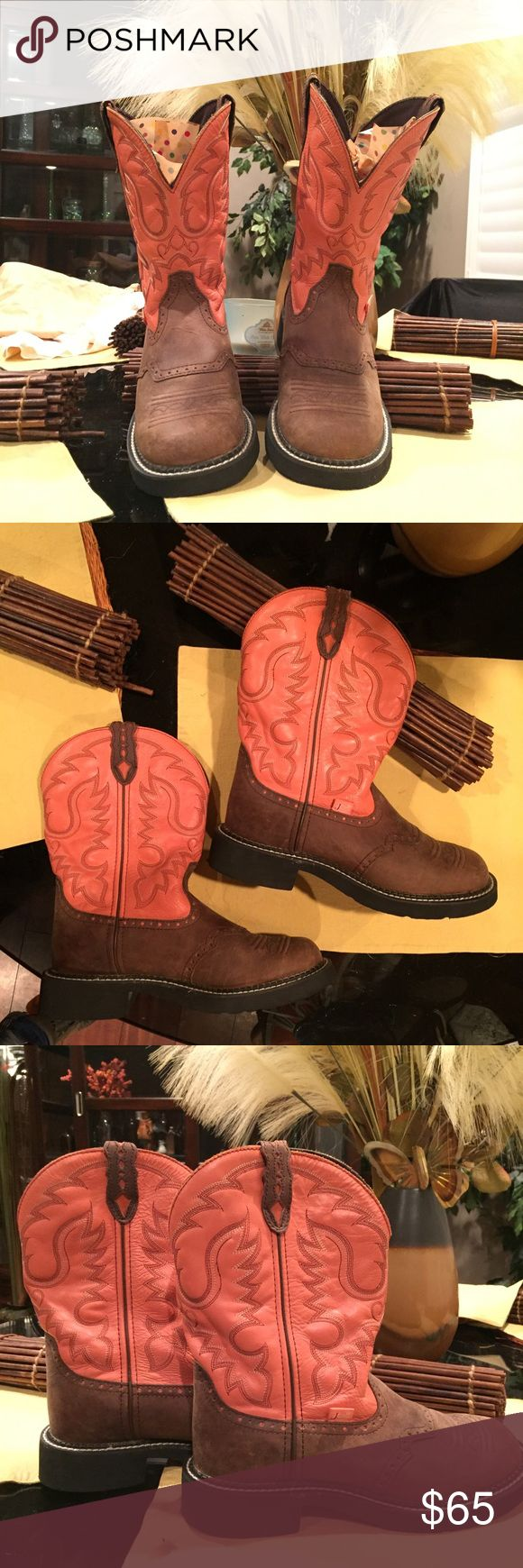 Justin cowboy boots Great pair of Justin boots, like new! Coral and brown color. Justin Boots Shoes