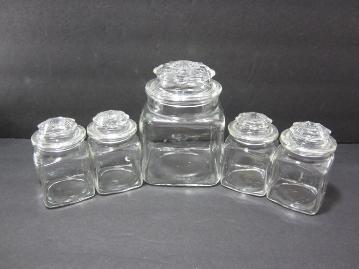 set of 5 apothecary jars with star lids glass jars with lids spice jar - Glass Containers With Lids