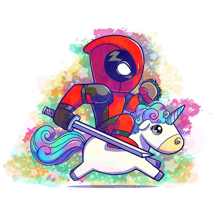 Deadpool Riding a Unicorn with a taco, print can be purchased on my etsy account at https://www.com/shop/Enojosa  #enojosa #deadpool #unicorn #taco #etsy #art