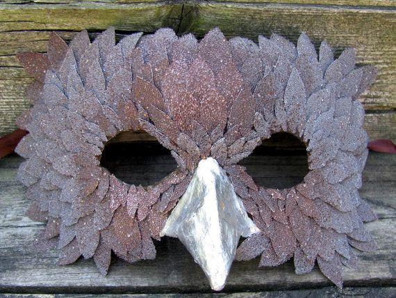 Silver Owl. silver and brown Venetian bird masquerade mask. $89.00, via Etsy.