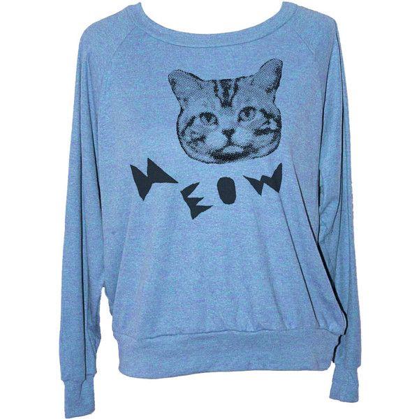 Womens Cat Sweatshirt American Apparel S M L (3 Color Options) Skip N... ($20) ❤ liked on Polyvore featuring tops, hoodies, sweatshirts, blue, women's clothing, cat top, snug top, lightweight sweatshirts, cut loose tops and drapey tops