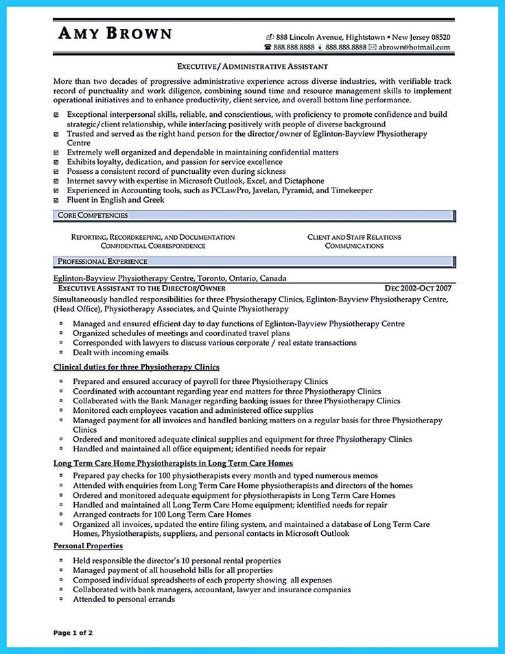 Free sample of executive secretary resume