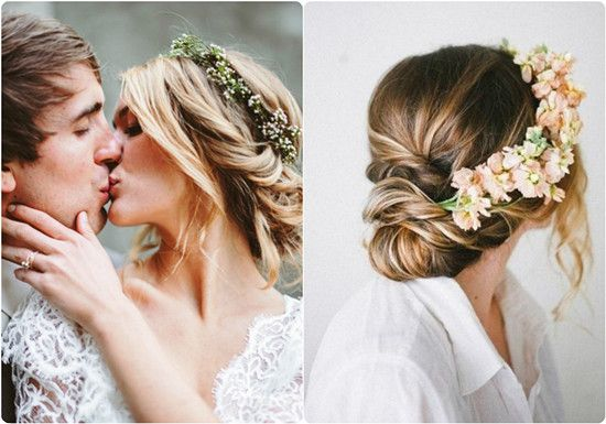 6 Ideas for Beautiful and Romantic Wedding Hairstyles with Flowers  Braided crowns with flowers