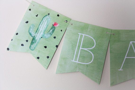 Cactus Banner. Cactus Theme. Fiesta Party. New Baby. Baby Shower. First Birthday. Birthday Party. Summer Party. Cacti. Baby Banner. Green