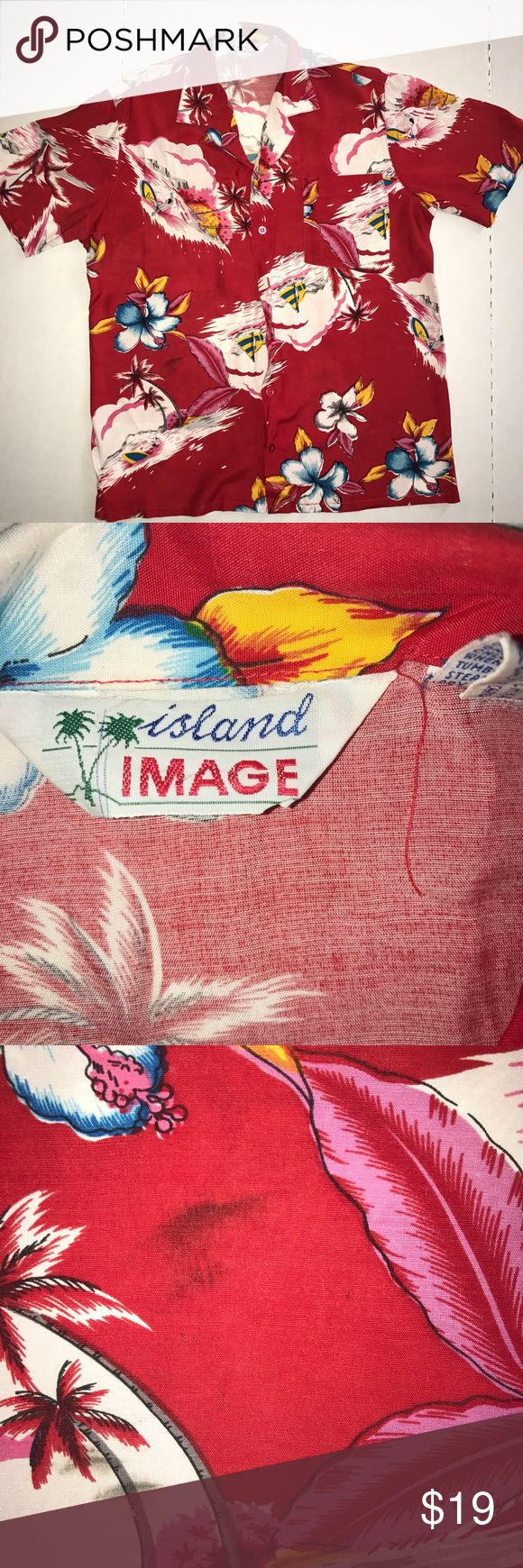 VINTAGE 1940s Island Image Vintage Hawaiian shirt Great shirt for parties and casual endeavors! Slight flaws as depicted in images, but they're not noticeable until you actively seek them. island image Shirts Polos