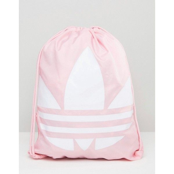 adidas Originals Drawstring Backpack With Trefoil Logo ($15) ❤ liked on Polyvore featuring bags, backpacks, pink, polyester backpack, knapsack bag, adidas bag, polyester drawstring bag and drawstring bag