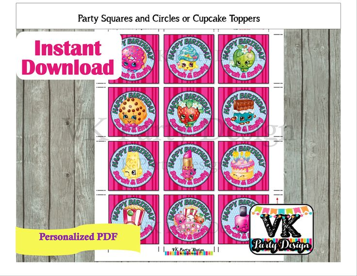 A personal favorite from my Etsy shop https://www.etsy.com/listing/506943704/shopkins-and-shoppies-cupcake-toppers-or