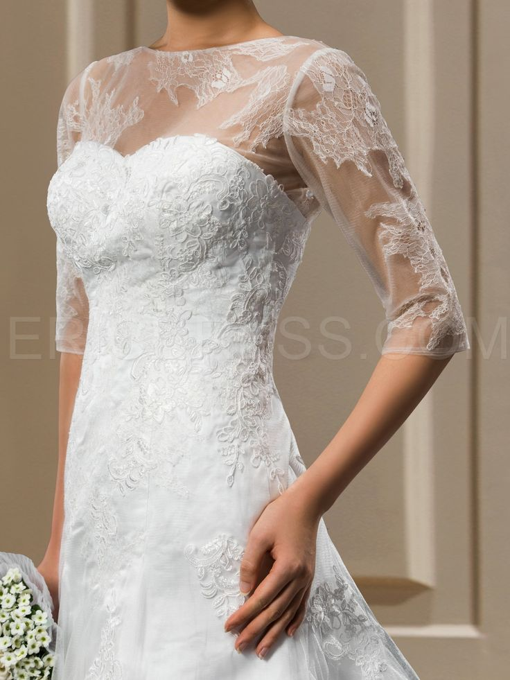 A-Line 1/2 Sleeves Appliques Court Wedding Dress 3