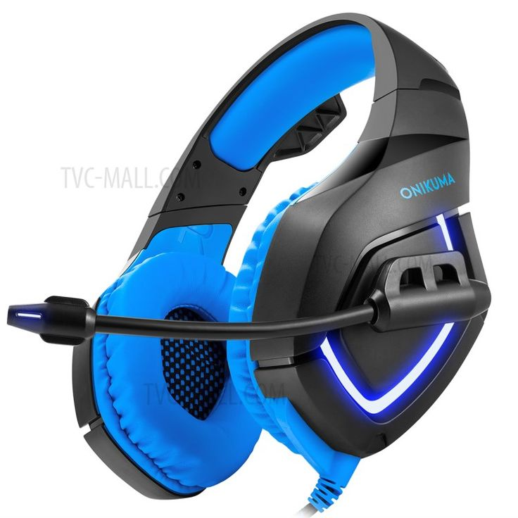 ONIKUMA K1-B 3.5mm USB PC Stereo Gaming Headset with Soft Tube Microphone and LED Light - Black + Blue-2