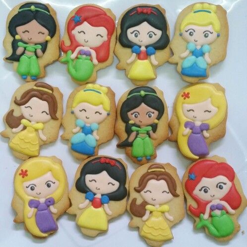 Chibi disney princesses cookies