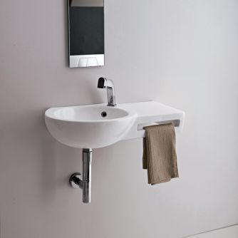 Stunning basin ideal for cloakrooms with integral towel hanging feature.
