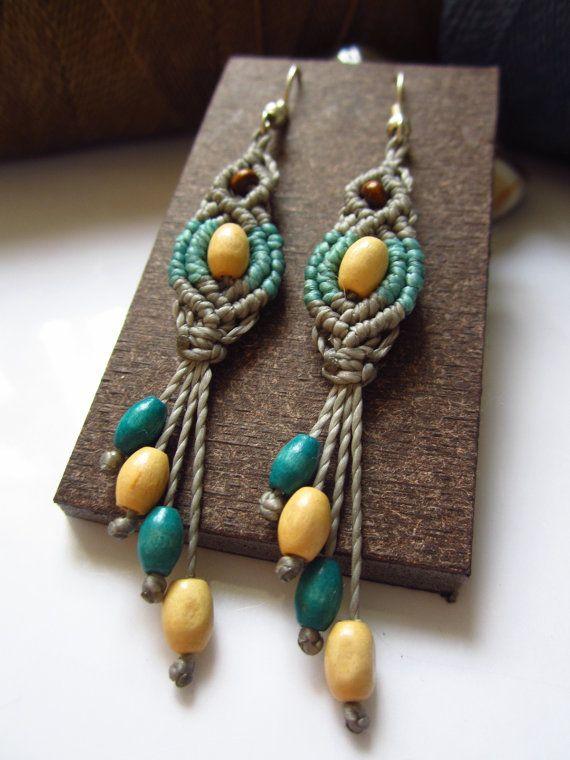 Grey&Blue Macrame Earrings with wood beads Handmade