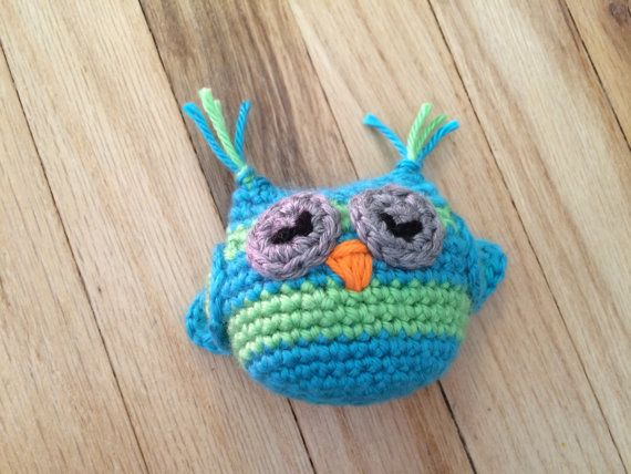 crocheted owl rattle crocheted owl small by DancingSugarPlumsCC