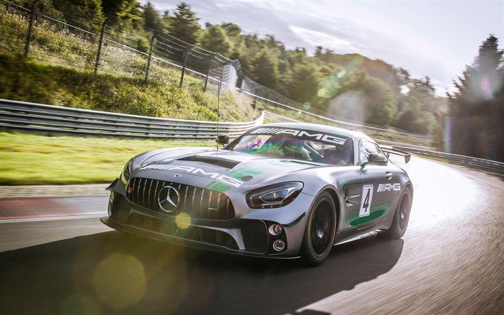 Descargar fondos de pantalla 4k, Mercedes-AMG GT4 de 2017, los coches, supercars, C190, pista de carreras, Mercedes
