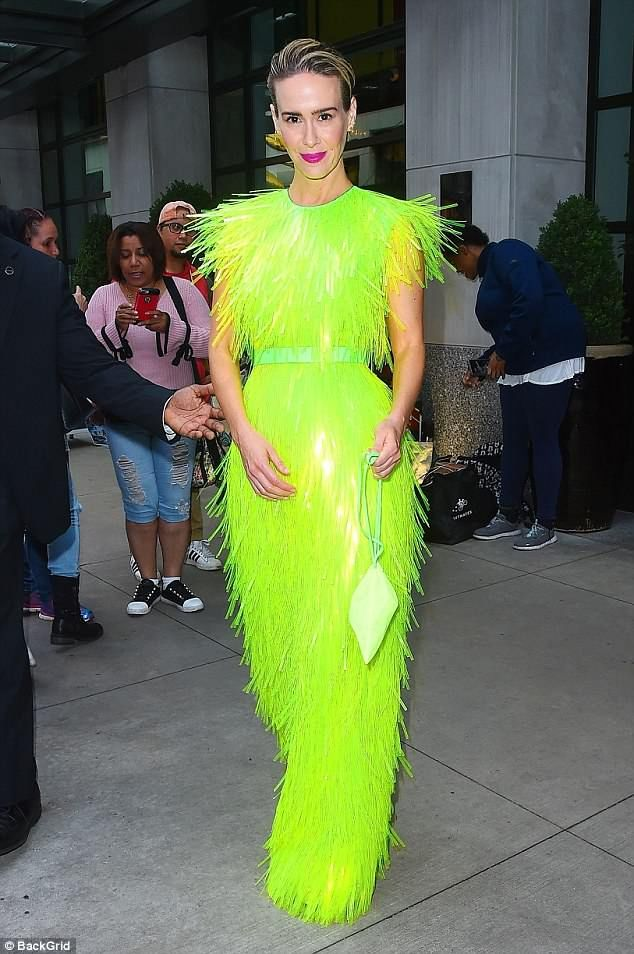 a18bbd906f Light up the night in a neon dress like Sarah Paulson. Click  Visit  to buy  now.  sarahpaulson  prada  fall2018  DailyMail