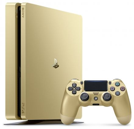 Limited Edition Gold PlayStation 4 console with 2 Gold Dualshock 4 wireless controllers