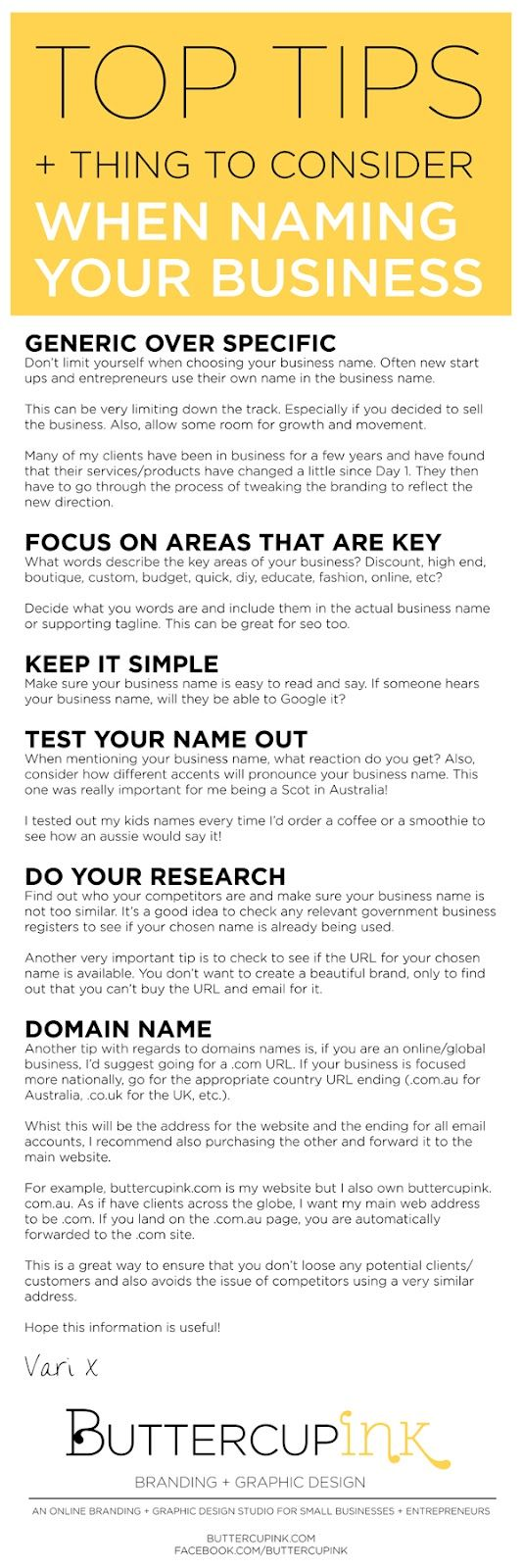 """Do you have any advice for choosing a business name?""   I've been asked this question a lot lately so I thought I'd share my tops tips and ..."