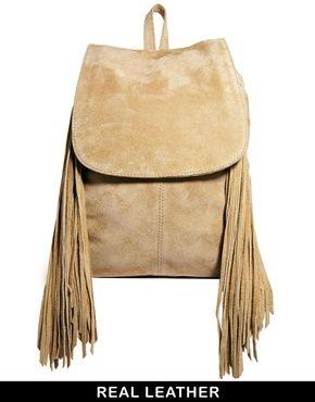 Image 1 ofASOS Suede Big Backpack with Fringing