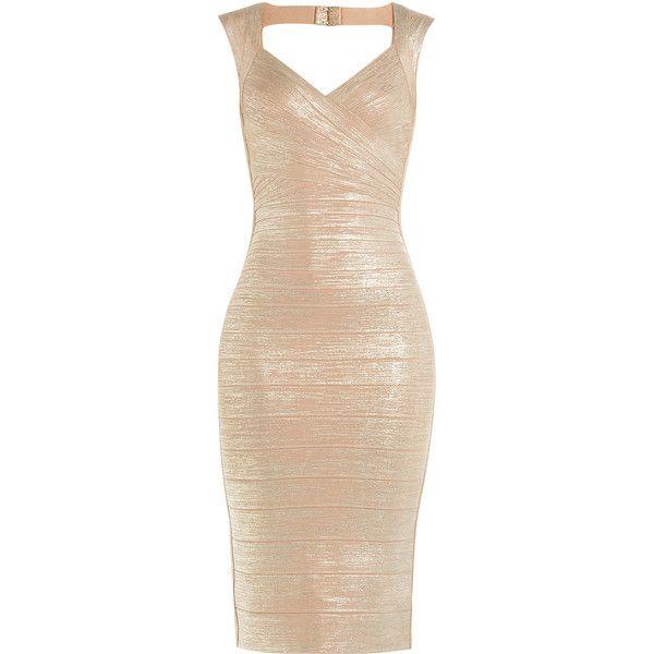 Hervé Léger Metallic Bandange Dress ($1,279) ❤ liked on Polyvore featuring dresses, gold, bandage cocktail dresses, bandage dress, gold dress, beige bandage dress and metallic dress