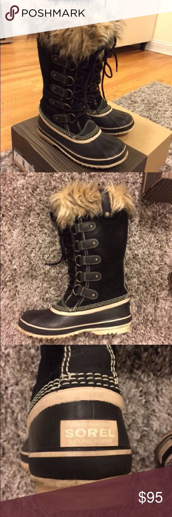 Sorel Joan of Arc Boots - Size 7 Selling a pair of used Sorel Joan of Arctic boots. Please note that one of the buttons broke off (see pictures). These keep your feet dry AND warm. Comes with box. Sorel Shoes Winter & Rain Boots