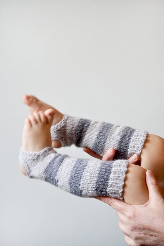 Hand knit striped toddler leg warmers // Baby yoga socks, toddler leg warmers…