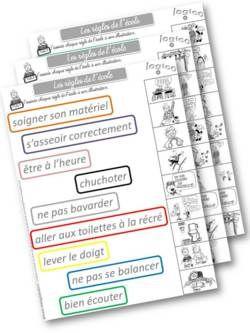 cartes à pince les règles de l'école : travail et jeux autour de ces règles - Le blog d'Aliaslili