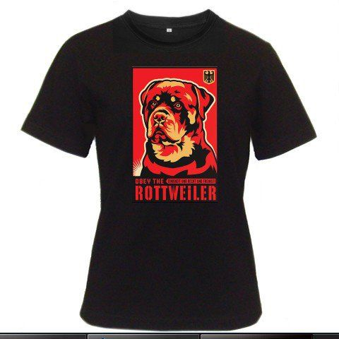 Obey the Rottweiler Women Black T-Shirt Size S to 3XL