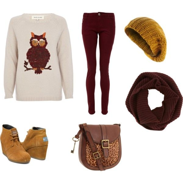 Owl sweatshirt, burgundy jeans, brown scarf and purse, and mustard yellow shoes and hat.
