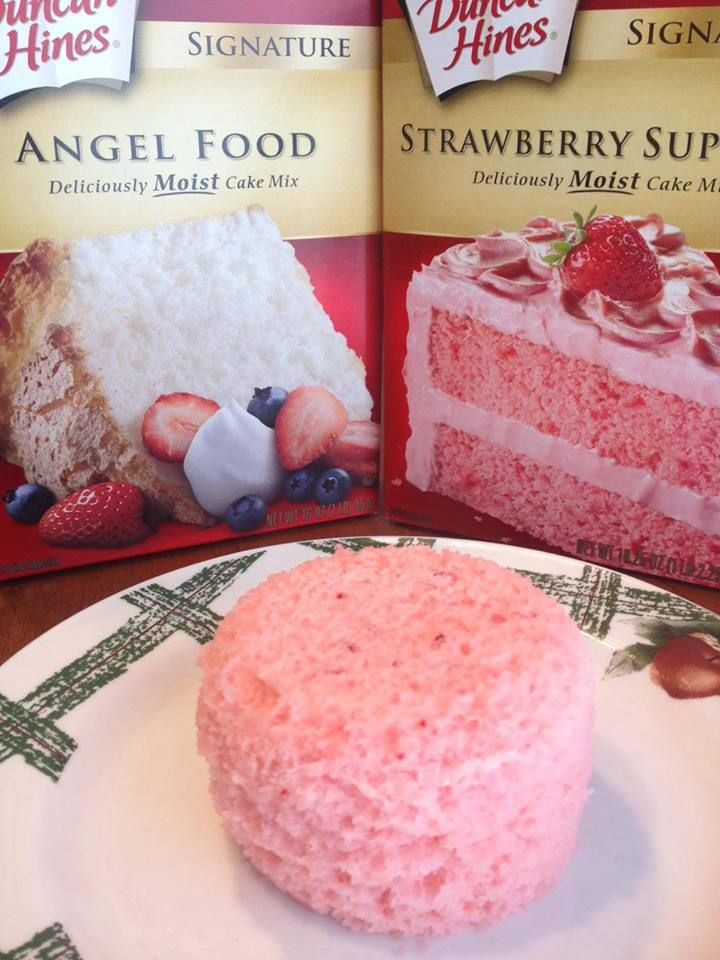 PORTION CONTROL CAKE ~ You will need two cake mixes. One must be Angel Food the other your choice. Mix the two together in an airtight container and seal it. When you want a treat, get a coffee mug, add 3 Tablespoons of the Cake Mix and 2 Tablespoons of Water. Microwave 1 minute.